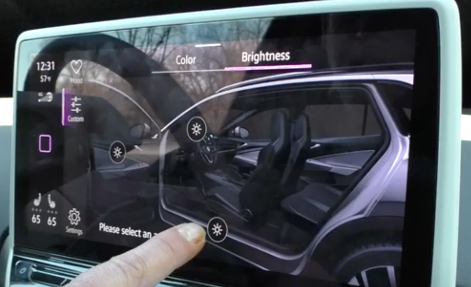 Adjusting the light settings for the interior through an interior illustration of a car