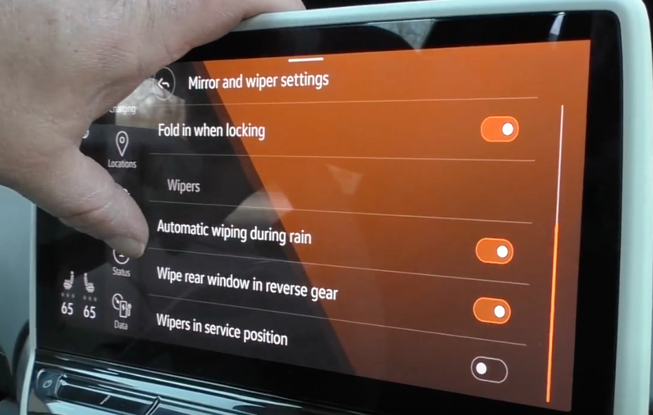 Wiper settings such as turning on and off automatic wipers or rear wipers etc