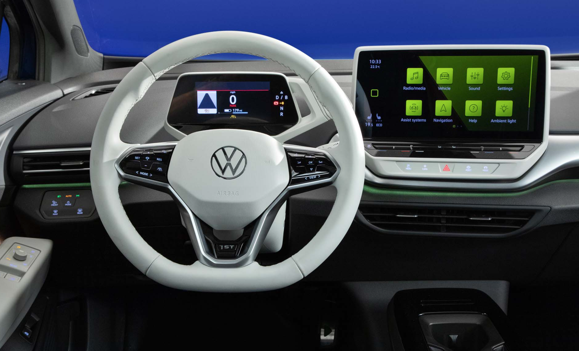 Various touch surfaces within the car such as the infotainment system and gauge cluster