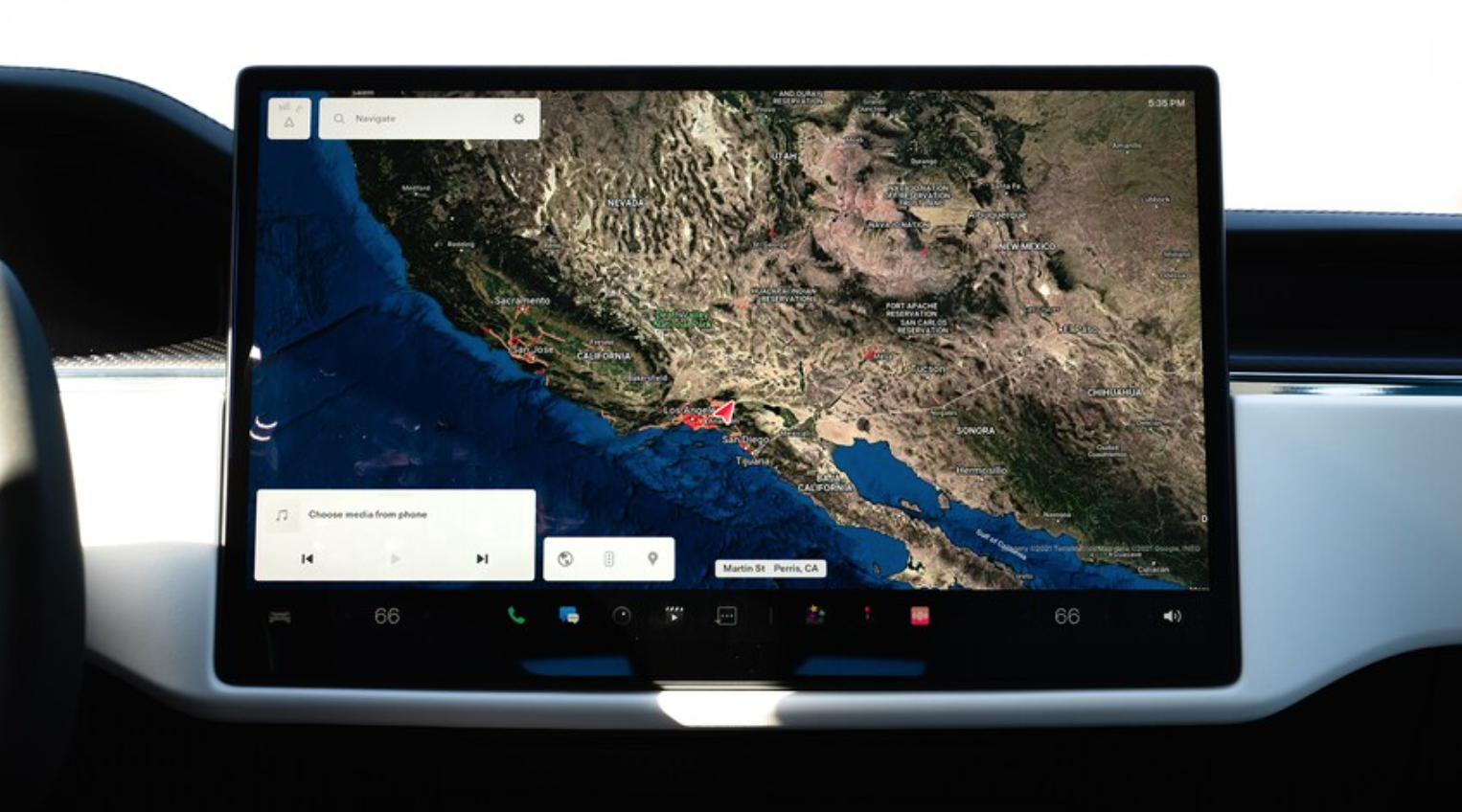 A map view with an arrow to indicate where a user is currently located