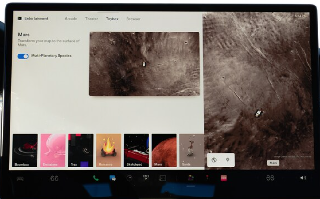 Option to transfer the navigation map to the surface of mars and a preview on the right of how that looks