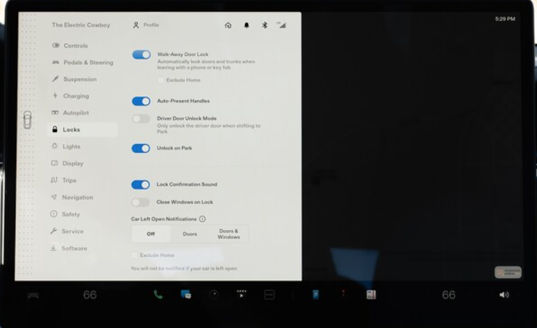 Lock settings listed with toggles next to them to turn them on and off