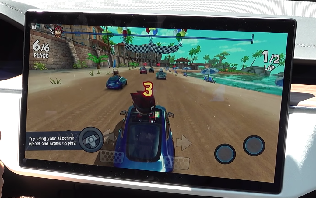 A car game displayed in full screen on the infotainment system