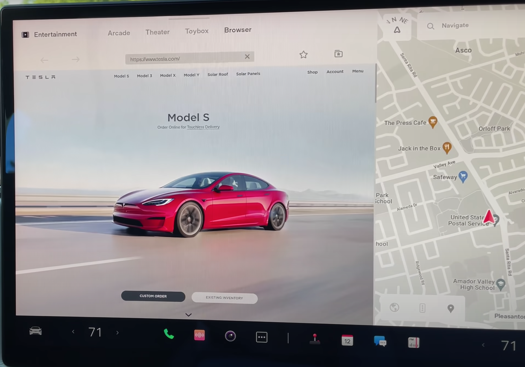 How the internet browser looks on the infotainment system on the left with a map view on the right