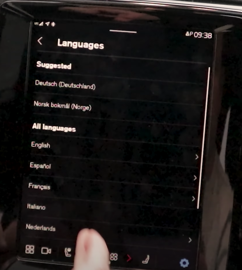 A list of languages to chose from in the system settings