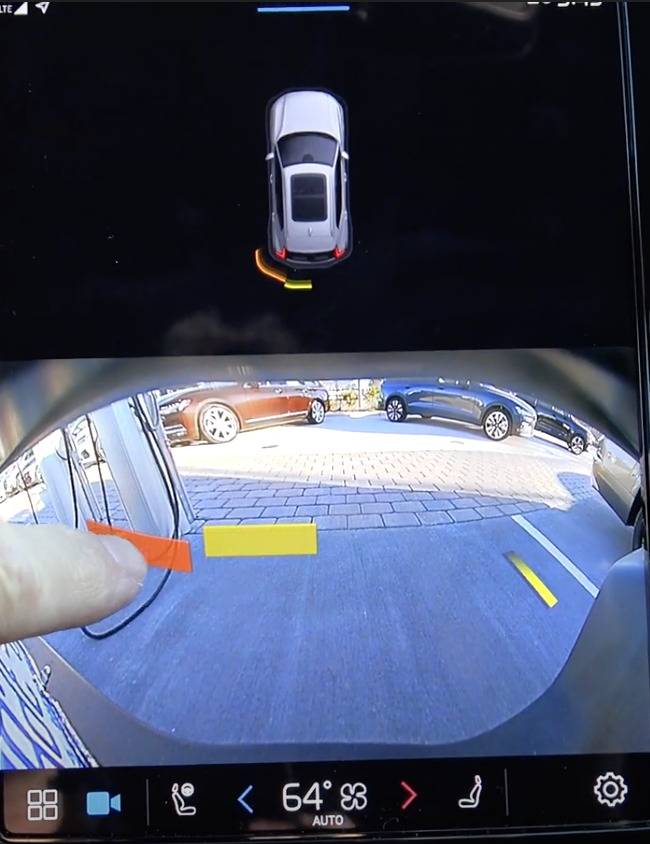 The rearview camera view on the infotainment system to assist with parking