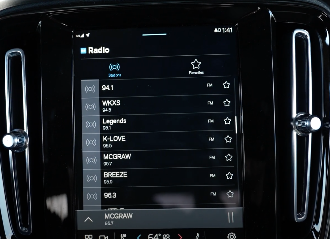A list of the radio stations to browse from with a start icon next to it