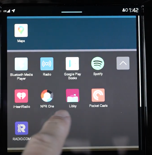 A gallery of apps that are in the infotainment system with square icons