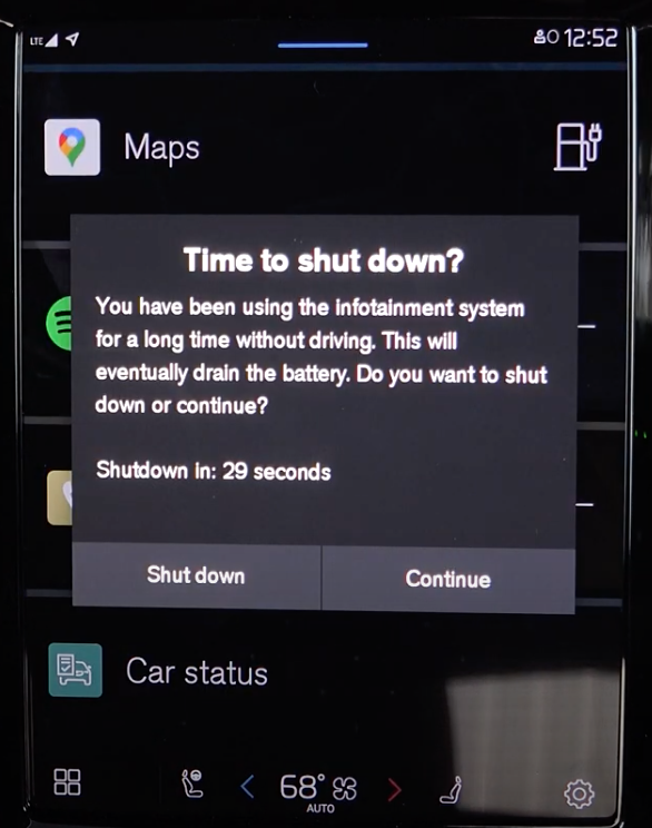 Option to turn the infotainment system off