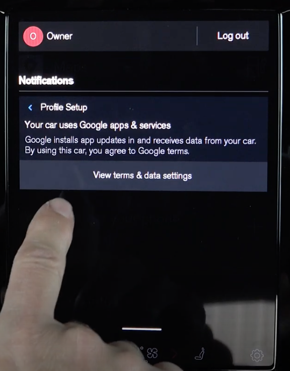 Disclaimer letting a user know that the car shares data with Google and using the car means that they are agreeing with Google's terms