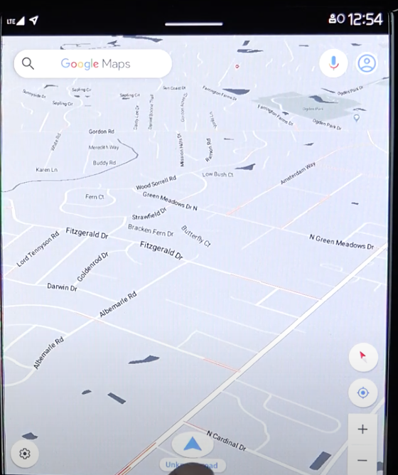 Big map view on the infotainment screen within the navigation system
