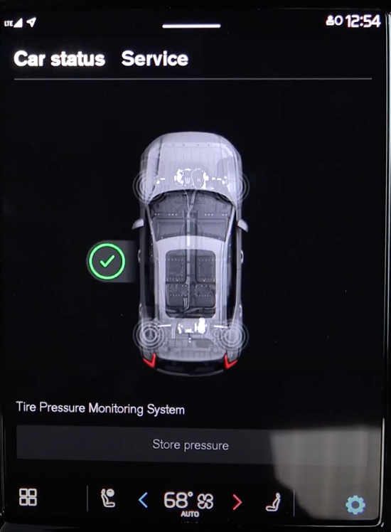 Car status screen with a 3D model of a car and tire pressure monitoring