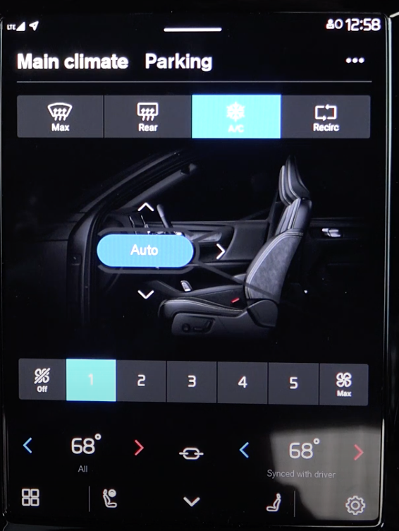 Settings for the climate with an illustration of the interior of a car and digital buttons to set air flow