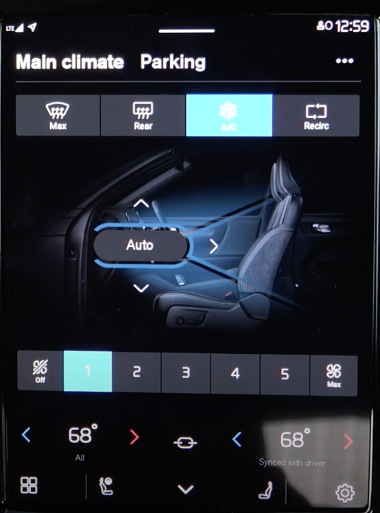 Setting up the climate and air flow setting through an illustration of the interior of the car and digital buttons