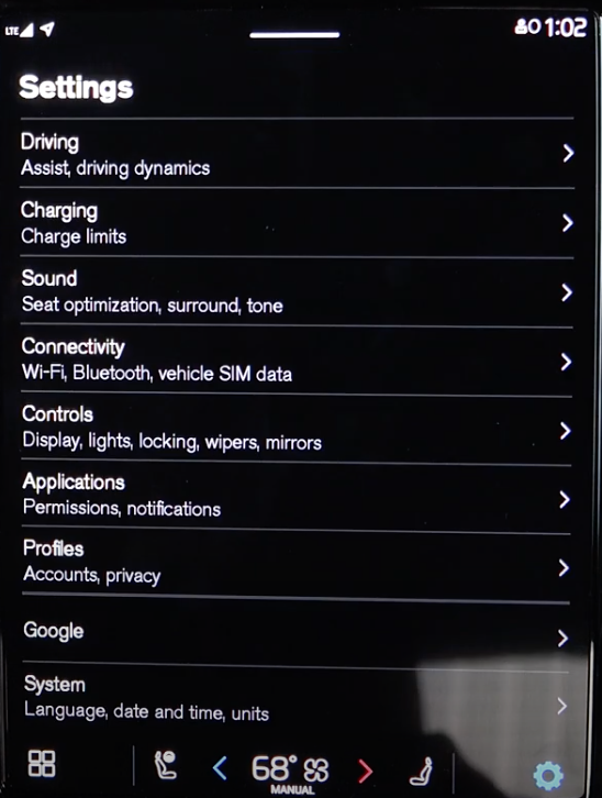 A long list of various vehicle settings
