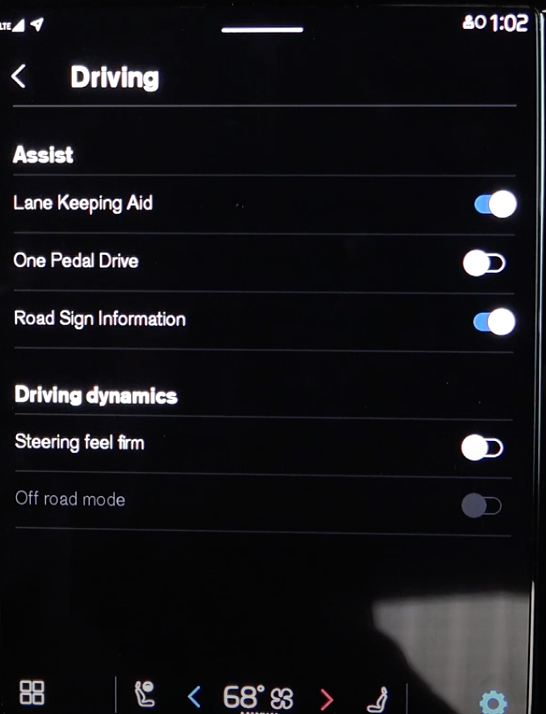 List of driving assistance settings and toggles to turn them on and off