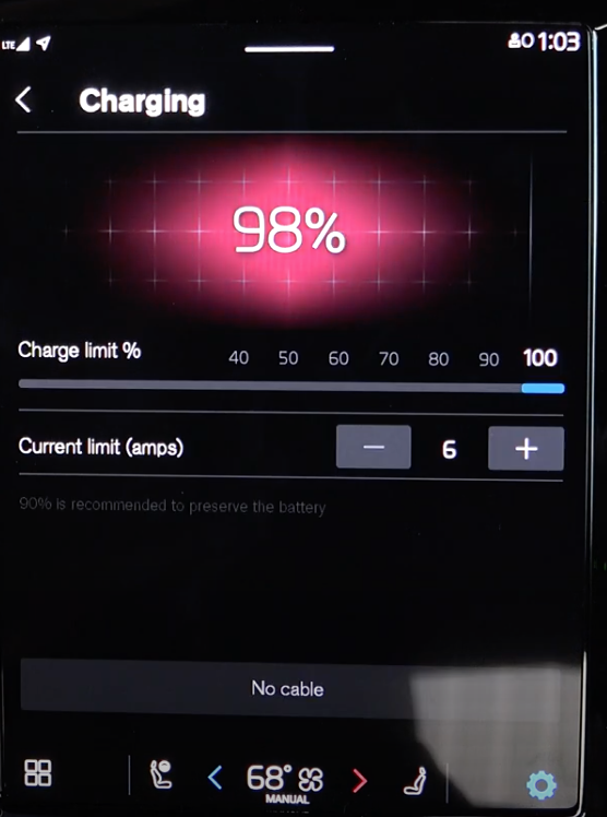 Charging settings for the vehicle such as arranging the charging limit and current limit
