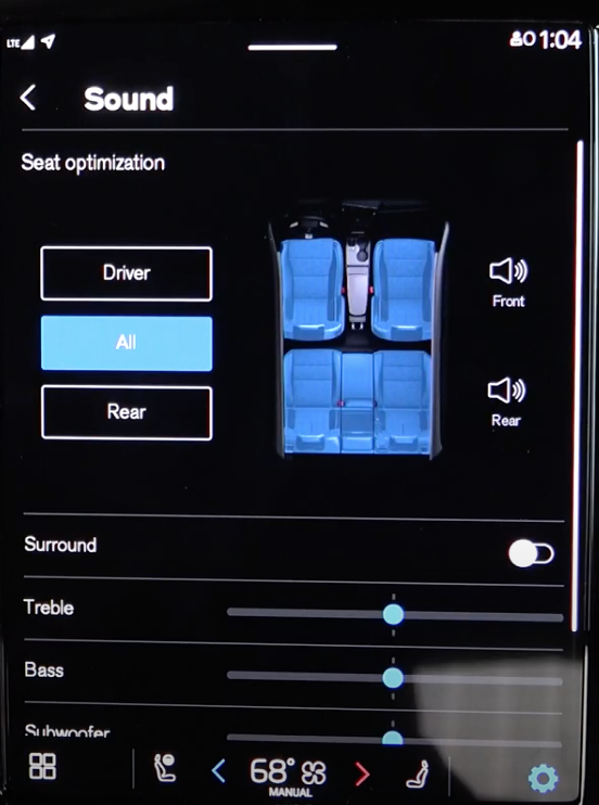 Media sound settings with digital buttons and illustration of the seats in the car