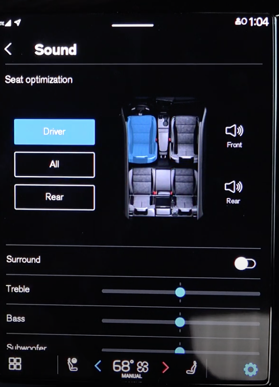Setting up the media sound settings with digital buttons and an illustration of the seats in the car