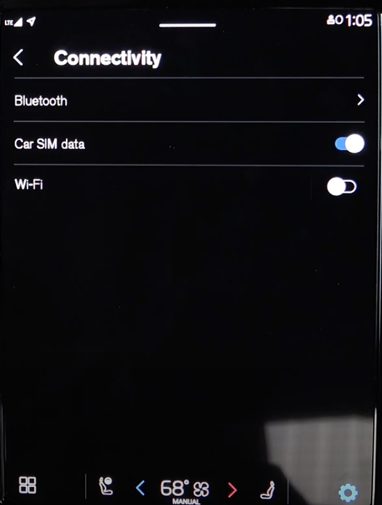 Connectivity settings such as turning on and off wifi through a toggle