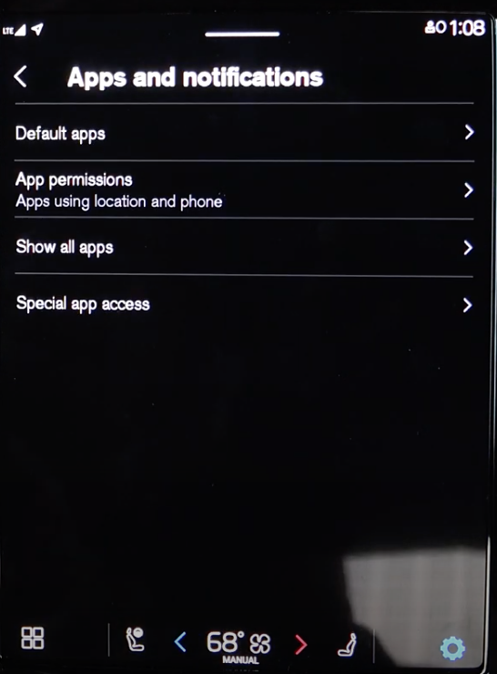 A list of apps and notification information such as default app settings or app permissions