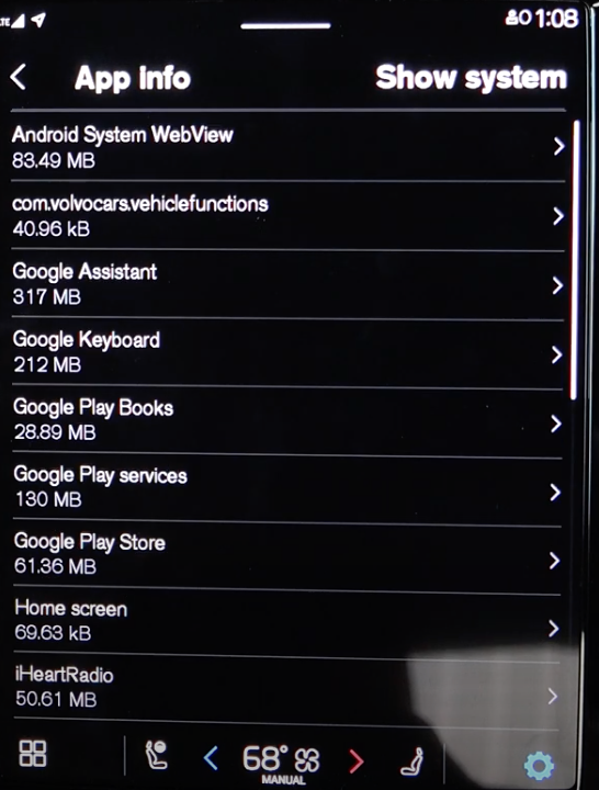 List of information listed about each app that are in the infotainment system