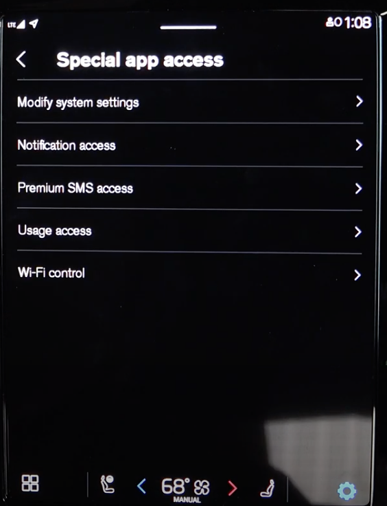 A list of settings for special app access, such as system settings, notifications etc
