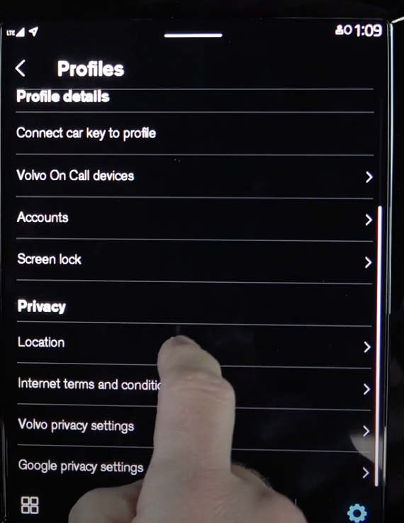 List of settings within the user profile such as linking car key to profile and other privacy settings