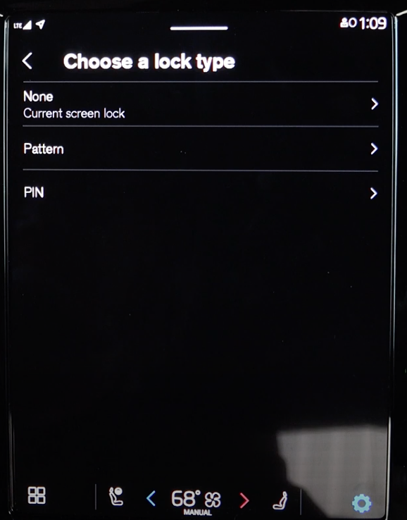 Settings to arrange private mode for the infotainment settings for example putting up a PIN to lock the screen