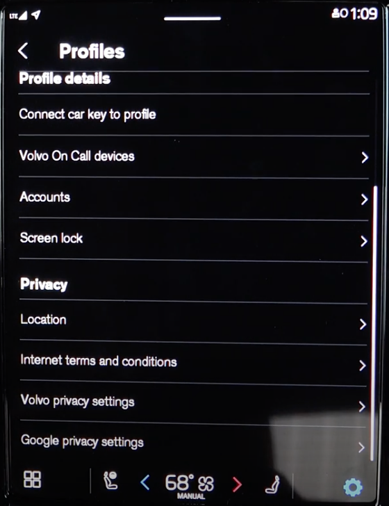 Privacy settings under the profiles such as locations and terms and conditions