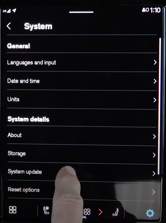 A list of settings related to system settings such as updates and languages