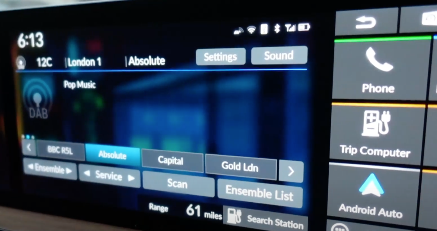 The radio player screen with option to change the channel at the bottom