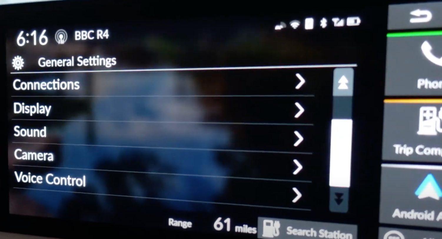A list of general infotainment settings such as sound and display settings