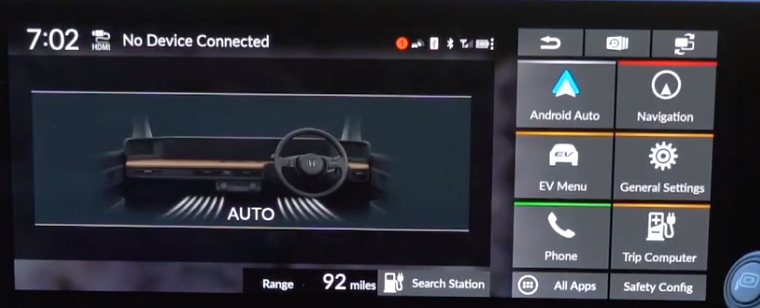 General menu shortcuts on the right and an illustration of the air flow within the car on the left