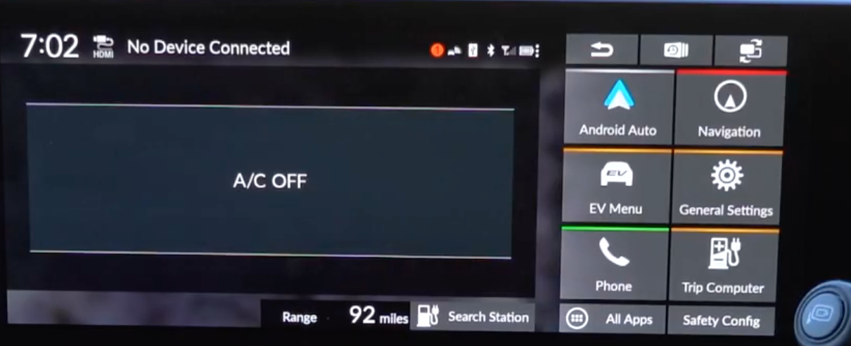 Menu on the right and a empty space on the left that says AC is off