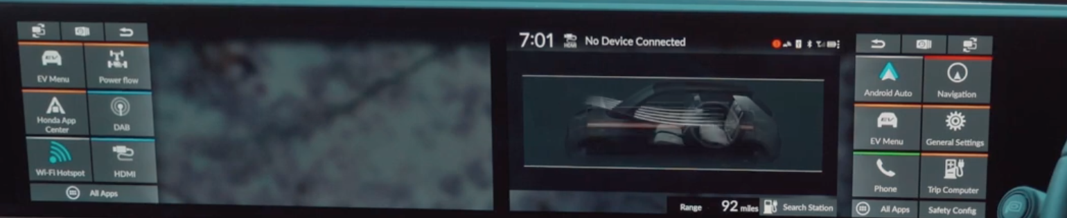 Two screens sides to side where at the edge of each there is a menu. On the right screen there is an illustration of the interior of a car and its air flow