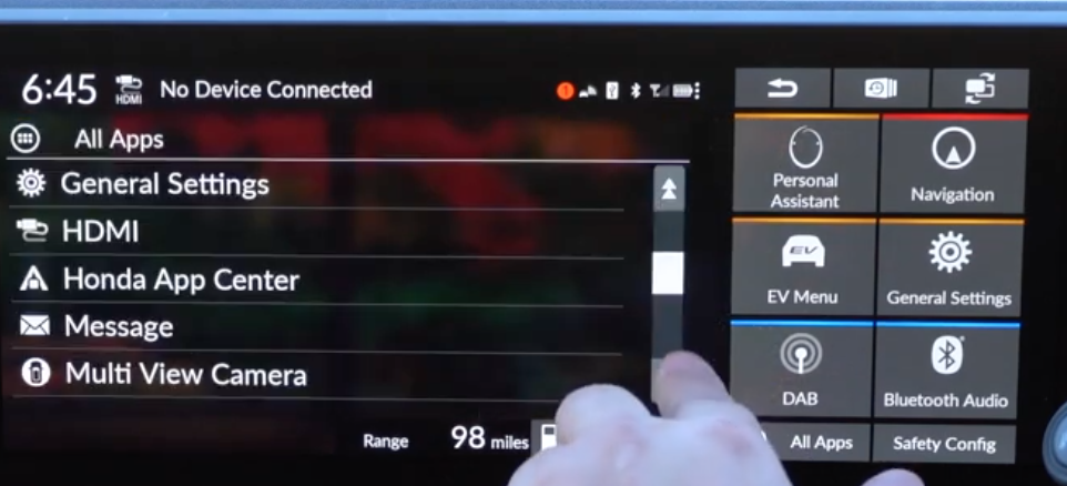 A list of general infotainment settings such as camera view and apps
