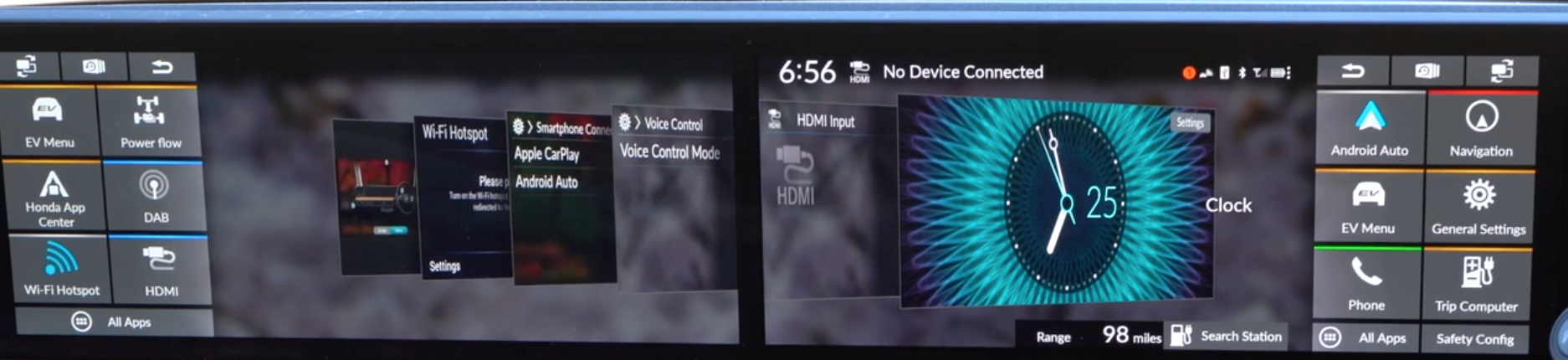 Open app tabs spread out onto the dual screen of the infotainment display