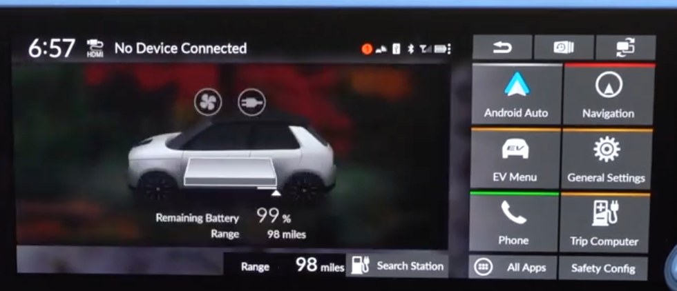 Car status about the battery level and range information