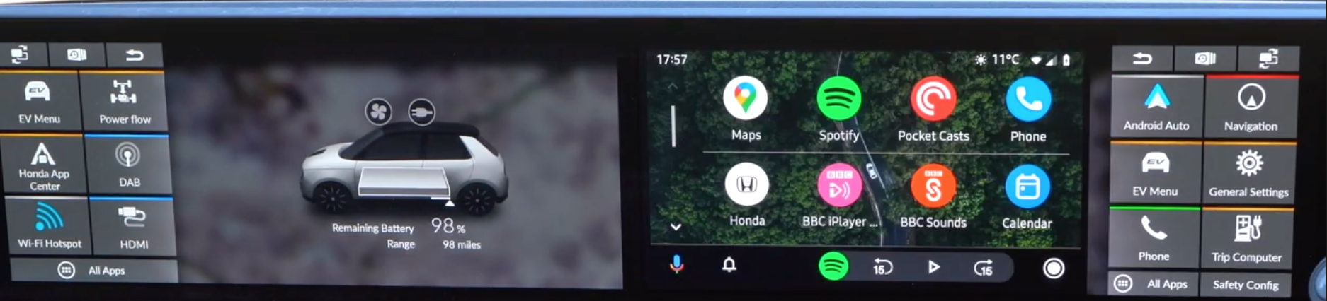 Charging status on the left screen and android auto interface on the right