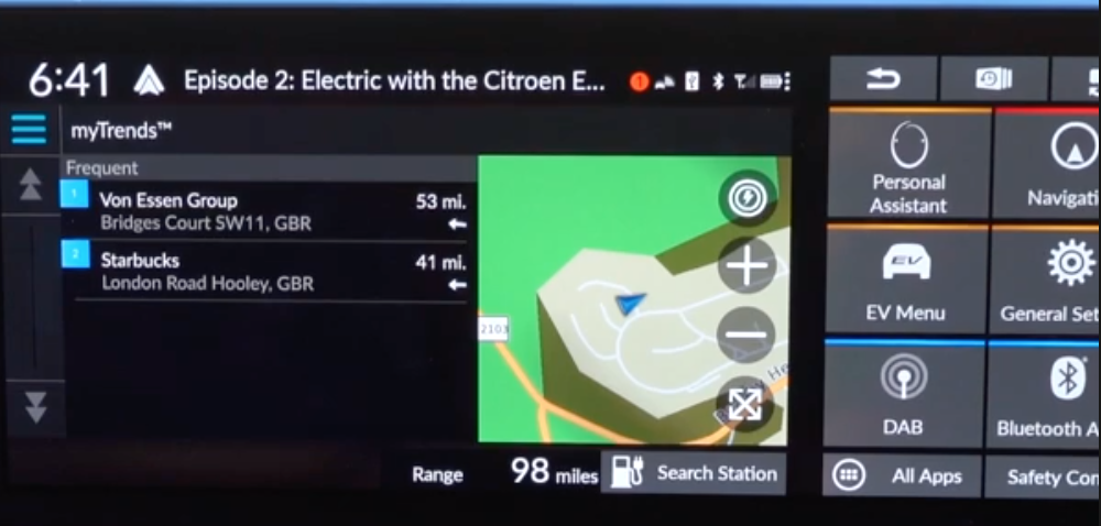 Map view on the right and a list of addresses with a search bar on the left