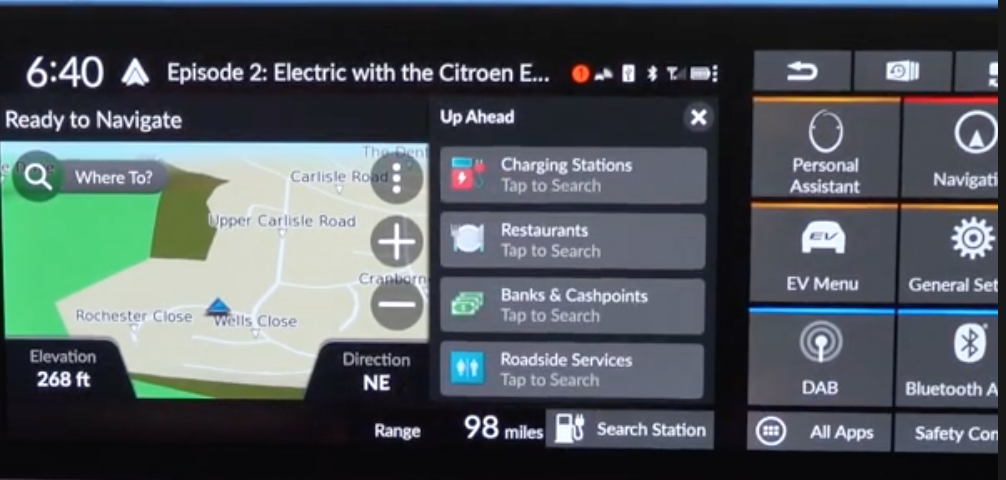 Map view with a list of places that are up ahead such as banks, charging stations, restaurants etc