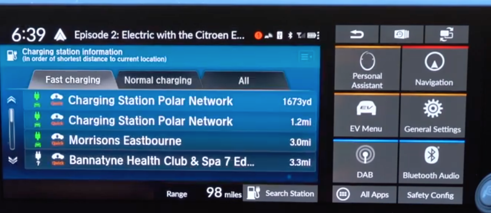 A list of e-stations and information about each within the navigation system