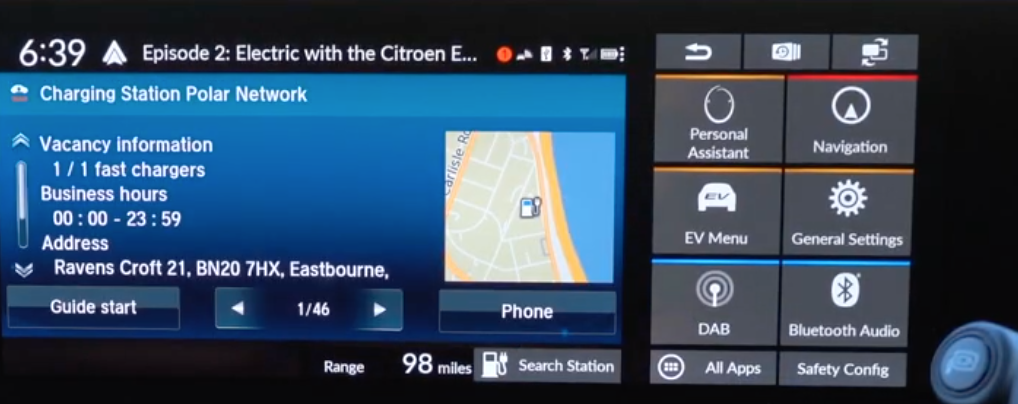 Information about a charging station with a small map view on the right