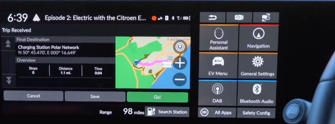 Route preview information and a map view on the right with the journey highlighted and a digital button to start guidance