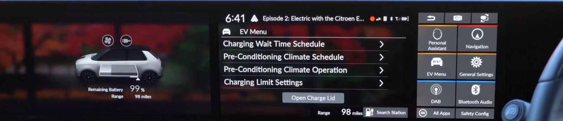 List of settings for the charging such as scheduling and charging limits