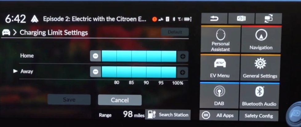 Charging limit settings with a minus and plus icons on the sides of a slider