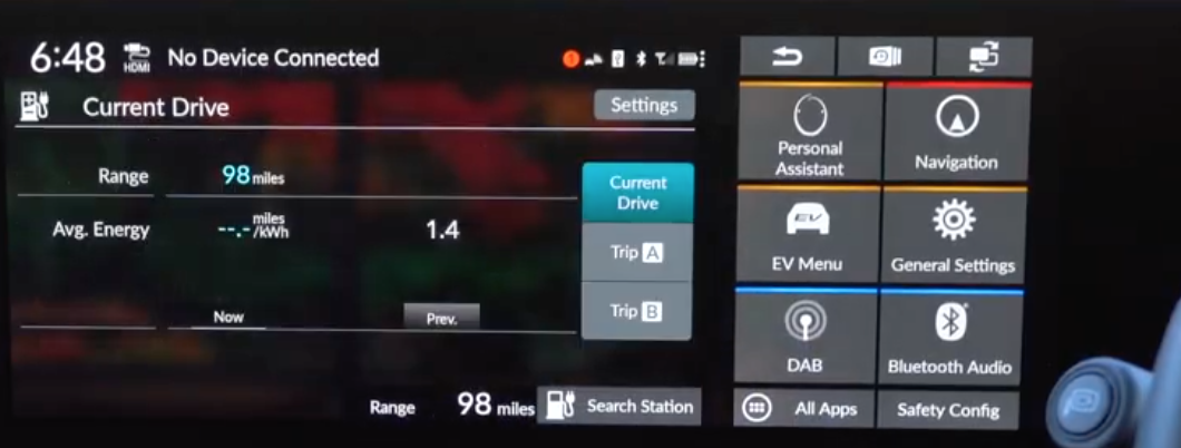 Current drive information such as range and energy