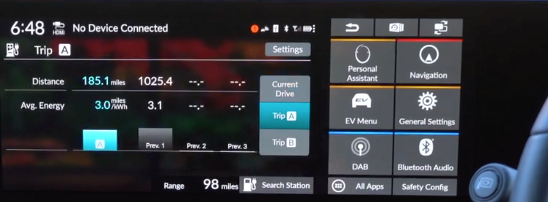 Information about the vehicle trip such as distance covered and energy used