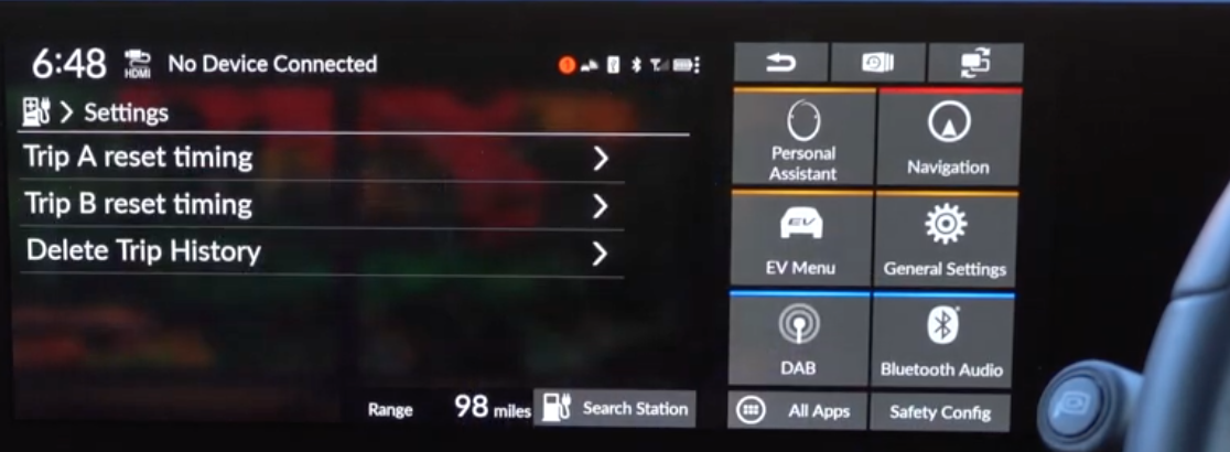 Settings for the vehicle trips such as resetting or deleting trip history